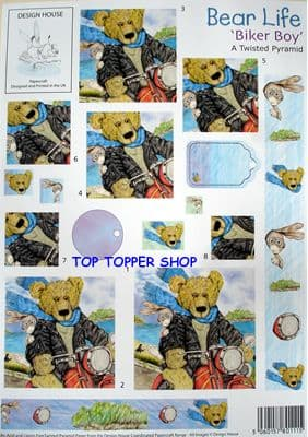 BEAR LIFE BIKER BOY - DESIGN HOUSE TWISTED PYRAMID DECOUPAGE SHEET
