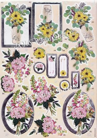 Beautiful Blooms Anita's Foiled Die Cut Decoupage Sheet 169923