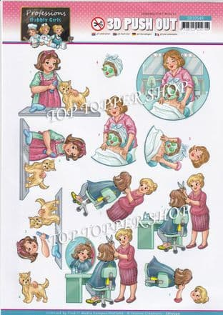 Beauty Professions Bubbly Girls  Die Cut Decoupage Sheet Yvonne Creations Push Out SB10549