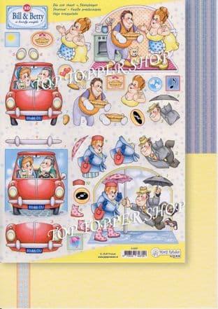 Bill & Betty Die Cut Decoupage Sheet & Backing Paper Marij Rahder 9.0067
