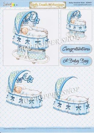 Birth Death and Marriage Decoupage Sheet Baby Bassinet Blue Splash Crafts BDM01