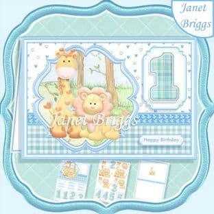 BIRTHDAY AGES 1 TO 5 BOY Lion & Giraffe A5 Decoupage Card Kit digital download
