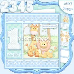BIRTHDAY BOY AGES 1 TO 5 Lion & Giraffe Decoupage Card Kit digital download