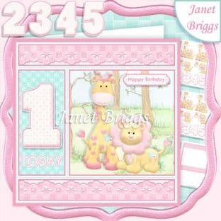 BIRTHDAY GIRL AGES 1 TO 5 Lion & Giraffe Decoupage Card Kit digital download
