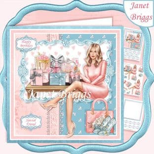 BIRTHDAY GIRL BLONDE 7.5 Decoupage Card Kit digital download