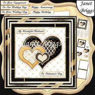 BLACK & GOLD HEARTS Various Occasions 6x6 Decoupage Card Kit digital download
