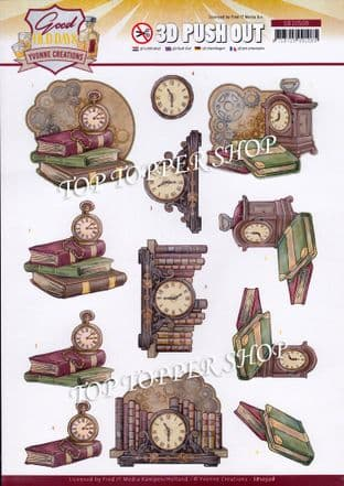 Books & Clocks Good Old Days Die Cut Decoupage Sheet Yvonne Creations Push Out SB10508