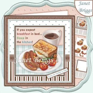 BREAKFAST IN BED 7.5 Decoupage  Card Kit digital download