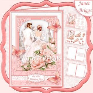 BRIDE & GROOM WEDDING DAY CORAL A5 Decoupage Card Kit digital download