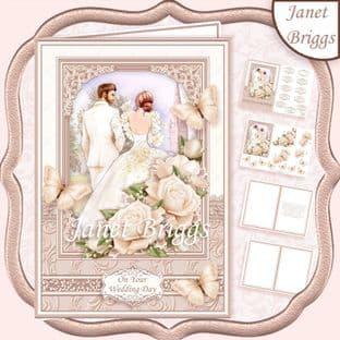 BRIDE & GROOM WEDDING DAY IVORY A5 Decoupage Card Kit digital download