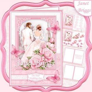 BRIDE & GROOM WEDDING DAY PINK A5 Decoupage Card Kit digital download