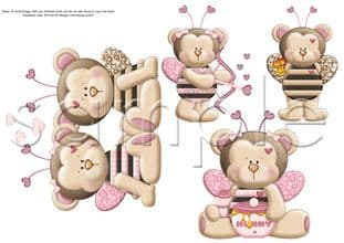 Bumbly Bears 'Bee Mine' Clipart Printed Sheet