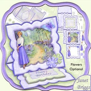 BUTTERFLIES IN BLUEBELL WOOD Easel Card Kit digital download PW514