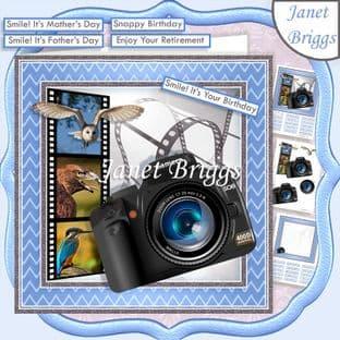 CAMERA SNAPSHOTS BIRD WATCHING 7.5 Decoupage Card Kit Digital Download
