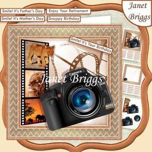 CAMERA SNAPSHOTS ON SAFARI 7.5 Decoupage Card Kit Digital Download