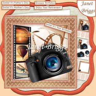 CAMERA SNAPSHOTS UP UP AND AWAY 7.5 Decoupage Card Kit Digital Download