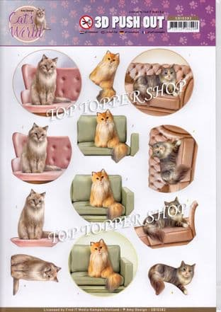 Cat's World Show Cats Die Cut Decoupage Sheet Amy Design Push Out SB10382