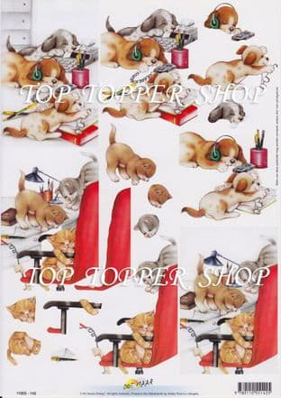 CATS & DOGS IN THE OFFICE DECOUPAGE SHEET HOBBY POST 142