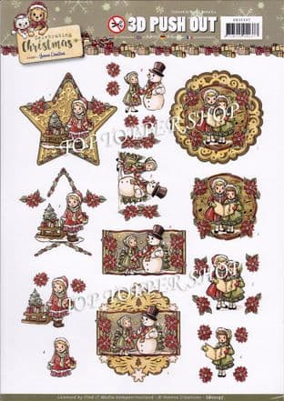Celebrating Christmas A4 Die Cut Decoupage Sheet Yvonne Creations Push Out SB10197
