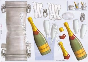 Champagne Bucket Stand Up Card & Decoupage Sheet  Requires Cutting 023