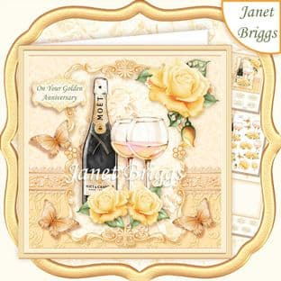 CHAMPAGNE CELEBRATIONS GOLD 7.8 Decoupage Card Kit digital download