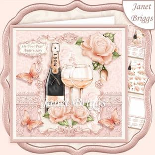 CHAMPAGNE CELEBRATIONS PEARL 7.8 Decoupage Card Kit digital download