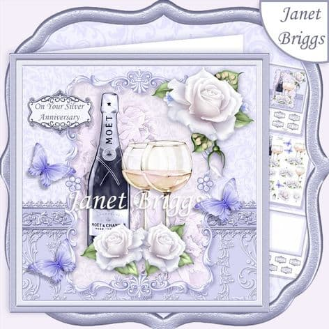 CHAMPAGNE CELEBRATIONS SILVER 7.8 Decoupage Card Kit digital download