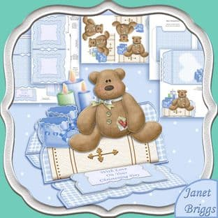 CHRISTENING BOY Easel Card Kit  digital download