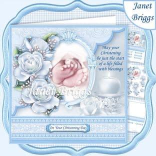 CHRISTENING BOY TOES & ROSES Blue 7.5 Decoupage  Card Kit digital download