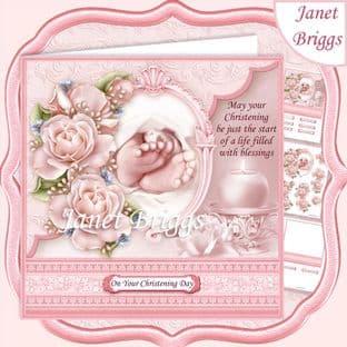 CHRISTENING GIRL TOES & ROSES Pink 7.5 Decoupage  Card Kit digital download