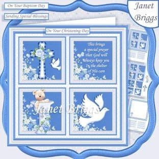CHRISTENING or BAPTISM Blue 7.5 Quick Card Kit digital download
