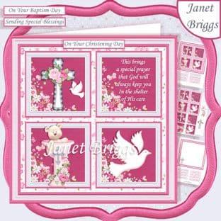 CHRISTENING or BAPTISM Pink 7.5 Quick Card Kit digital download