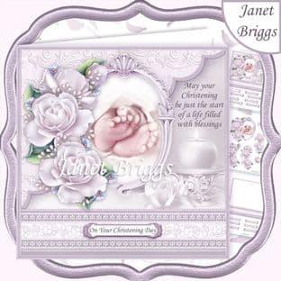 CHRISTENING TOES & ROSES Lavender 7.5 Decoupage  Card Kit digital download