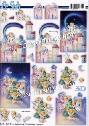 Christmas Angels A4 Die Cut Decoupage Sheet Le Suh 680.053