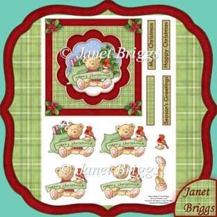 CHRISTMAS BEAR & ROBIN Topper & Decoupage  digital download 334