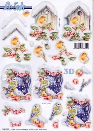 Christmas Birds in Snow A4 Die Cut Decoupage Sheet Le Suh 680.123