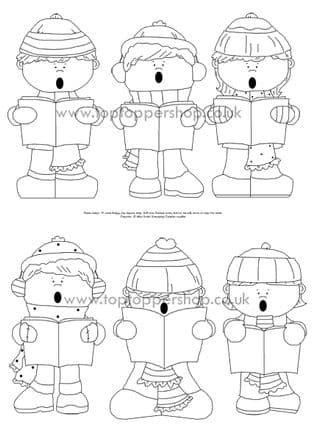 Christmas Carollers Digi Stamps Printed Sheet