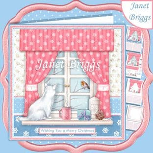 CHRISTMAS CATS VIEW THROUGH A WINDOW 7.5 Decoupage Card Kit digital download