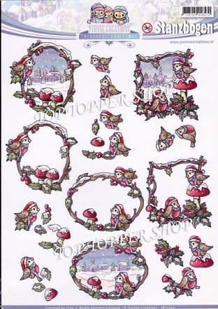Christmas Colourful Christmas Robins A4 Die Cut Decoupage Sheet Yvonne Creations Push Out SB10042