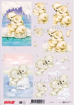 Christmas Cute Polar Bears Decoupage Sheet  Requires Cutting PickUp 029