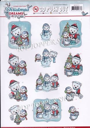 Christmas Dreams Bears A4 Die Cut Decoupage Sheet Yvonne Creations Push Out SB10274