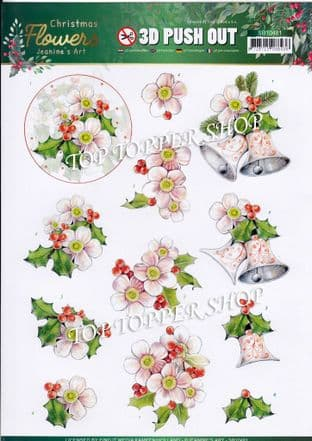 Christmas Flowers A4 Die Cut Decoupage Sheet Jeanine's Art Push Out SB10481
