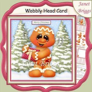 CHRISTMAS GINGERBREAD MAN WOBBLY HEAD CARD 7.5 Decoupage Card Kit digital download