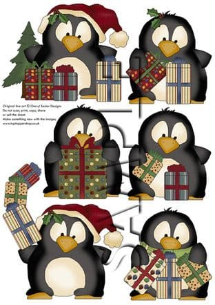 Christmas Giving Penguins Exclusive Clipart Printed Sheet