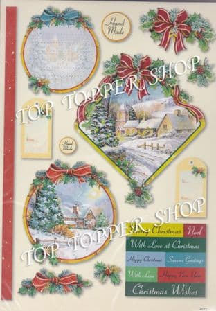 CHRISTMAS GLITTERED TOPPERS CHRISTMAS SCENES 4072 - RED HOT BED