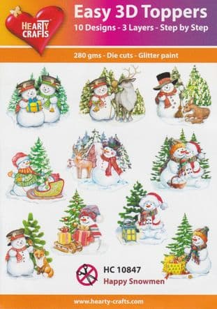 Christmas Happy Snowmen 10 Easy 3d Die Cut Decoupage Toppers Hearty Crafts HC10847