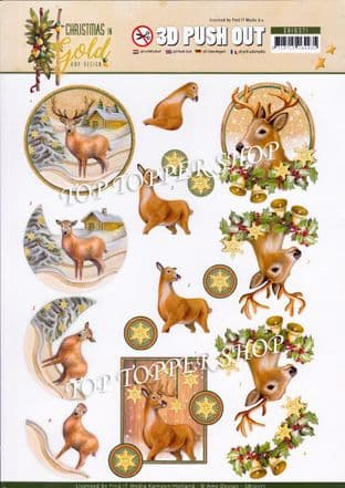 Christmas in Gold Deer A4 Die Cut Decoupage Sheet Amy Design Push Out SB10371