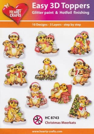 Christmas Meerkats 10 Easy 3d Die Cut Decoupage Toppers Hearty Crafts HC8743
