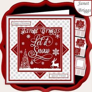 CHRISTMAS MONOTONE LET IT SNOW 7.5 Quick Card Kit digital download