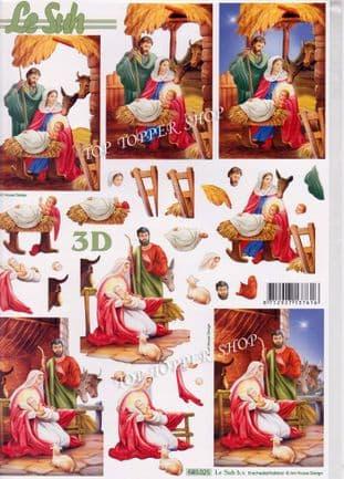 Christmas Nativity A4 Die Cut Decoupage Sheet Le Suh 680.025